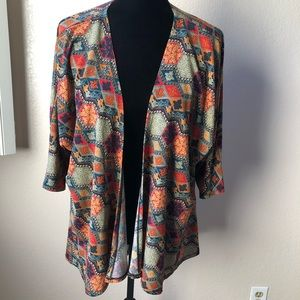 LulaRoe Small Duster Red Orange Multicolored Fall